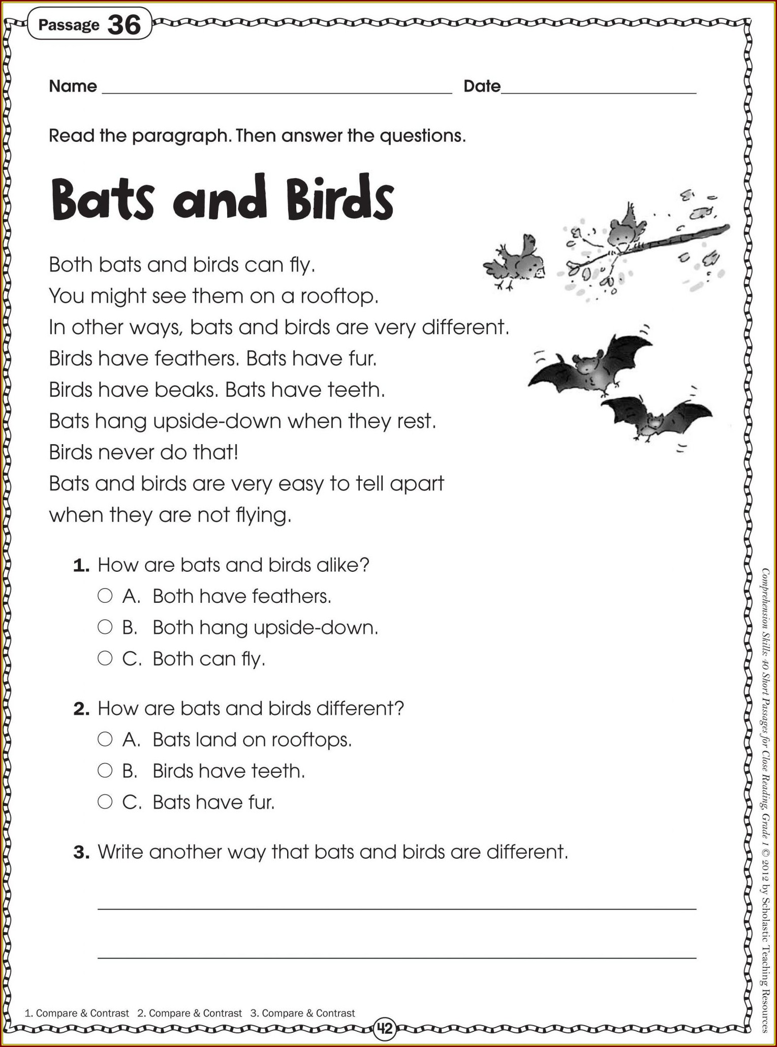 4th Grade Free Printable Reading Comprehension Worksheets