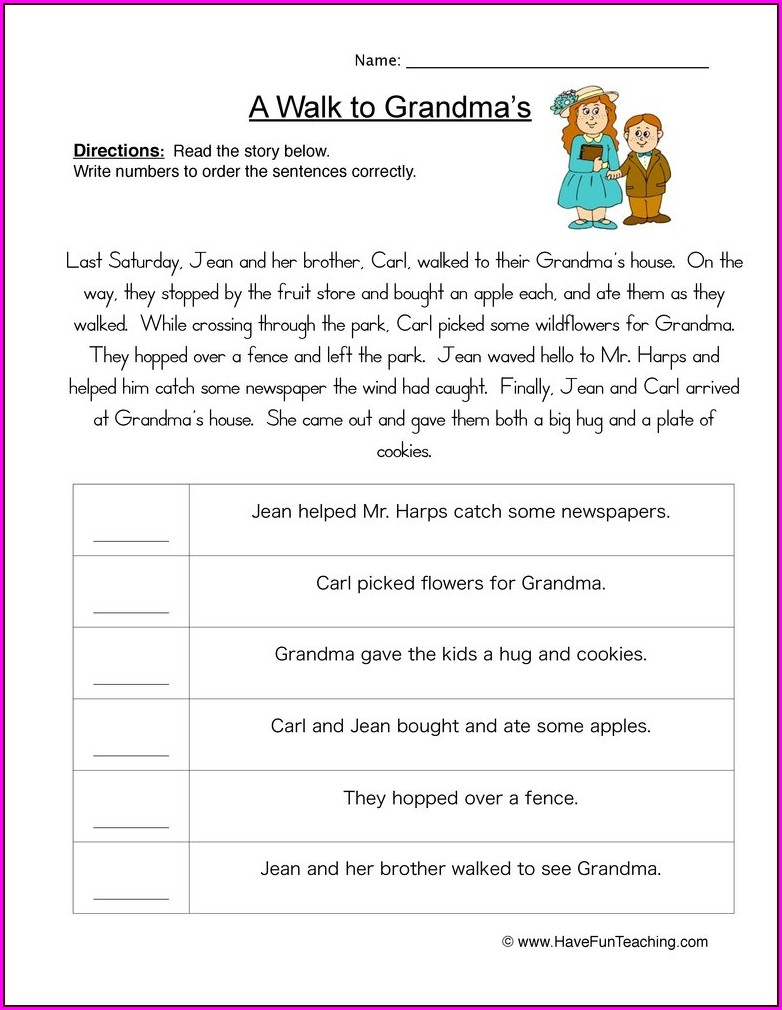 4th Grade Time Ordered Words Worksheet