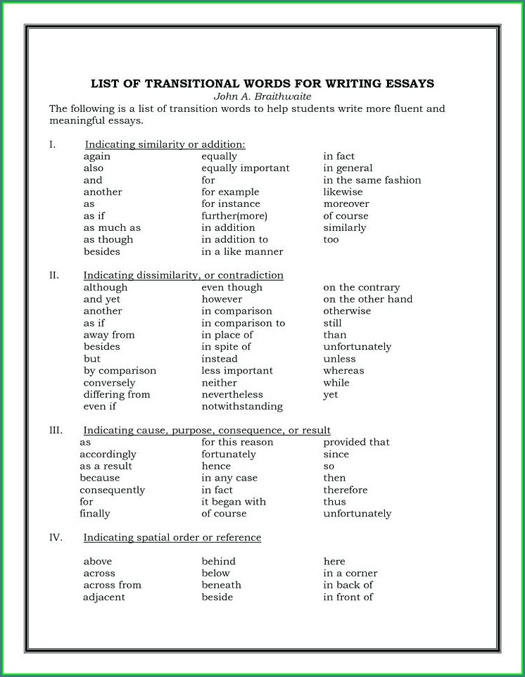4th Grade Transition Words Worksheet