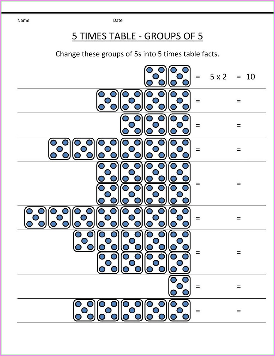 5 Times Table Worksheet Ks1
