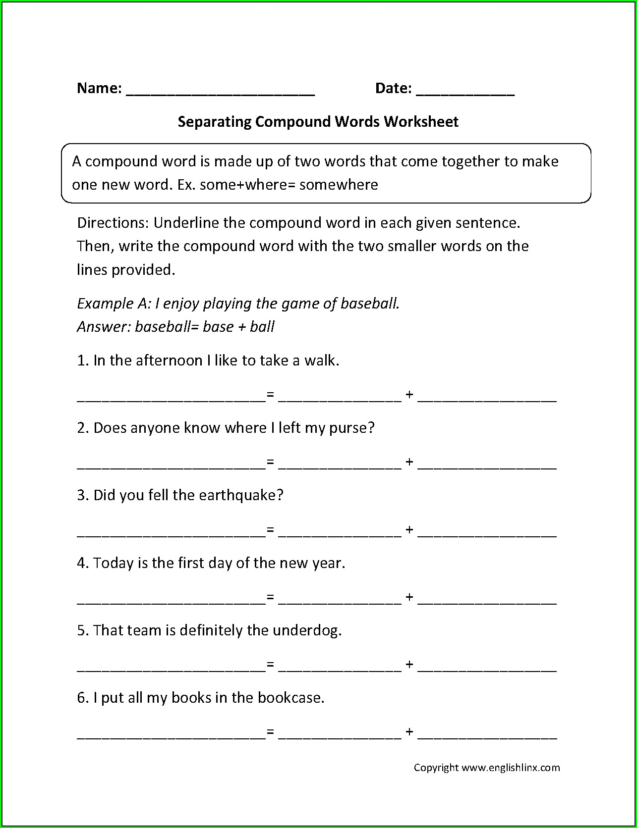 5th Grade Compound Word Worksheet