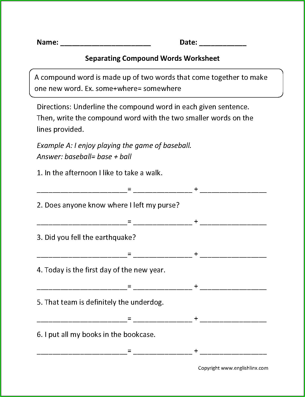 5th Grade Compound Word Worksheet