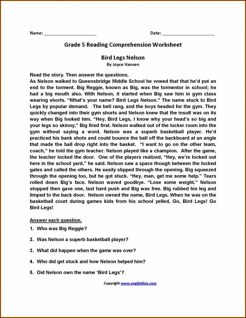 5th Grade Comprehension Worksheet