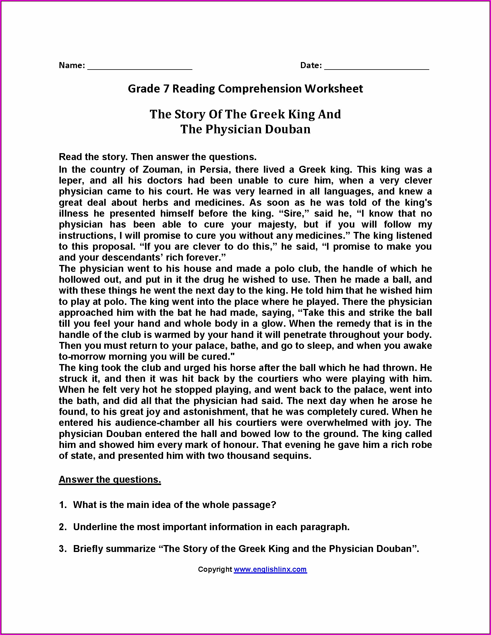 5th Grade Grade 5 Reading Comprehension Worksheets Pdf