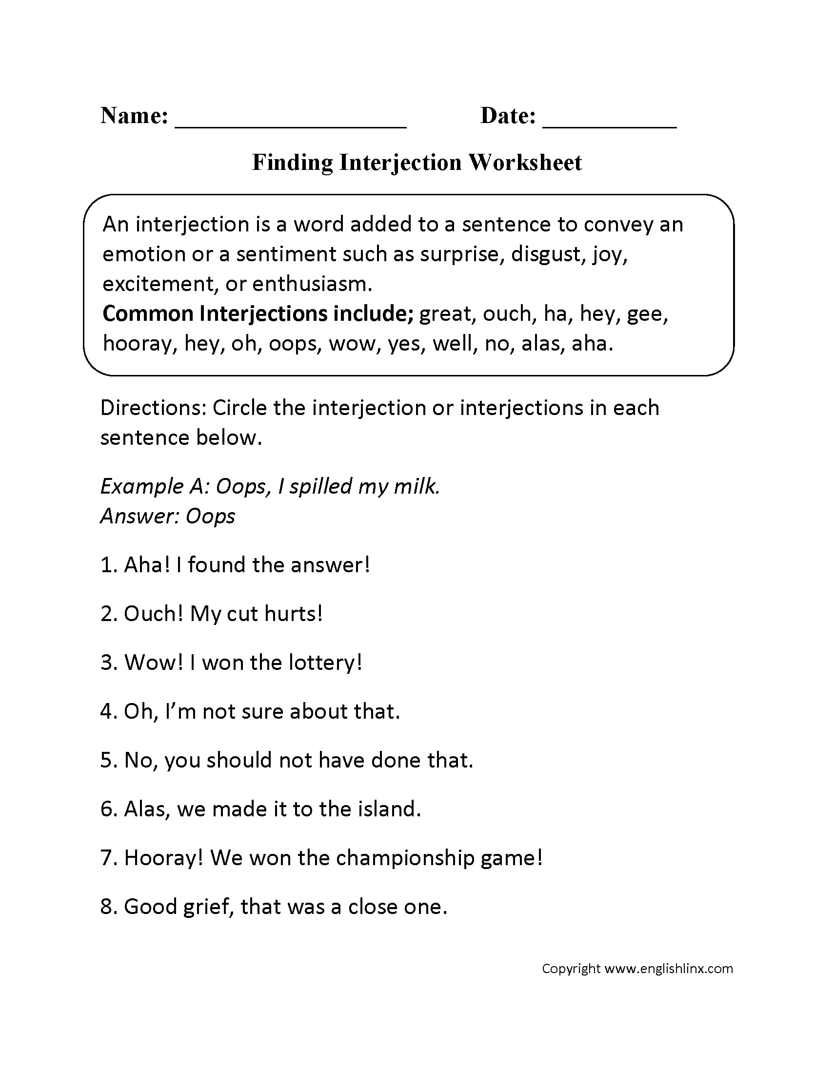 5th Grade Interjections Worksheets With Answers