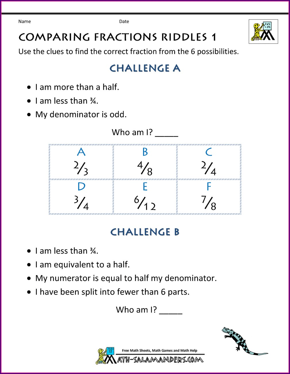 5th Grade Math Worksheets Comparing Fractions