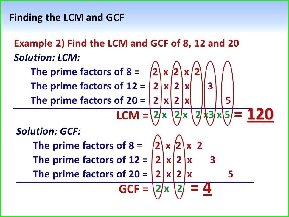 5th Grade Math Worksheets Lcm