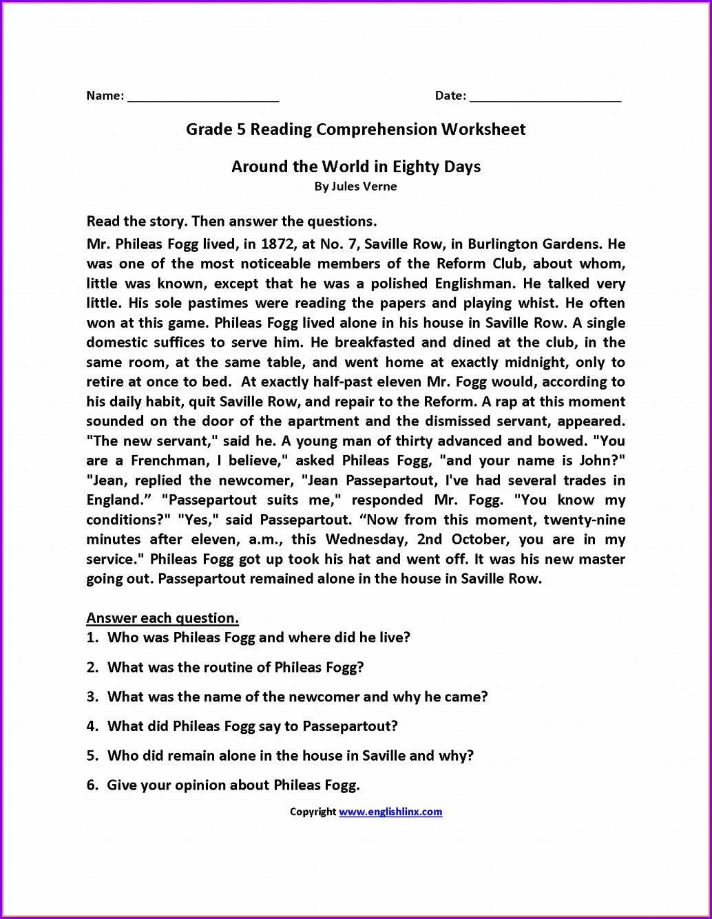 5th Grade Reading Comprehension Worksheet