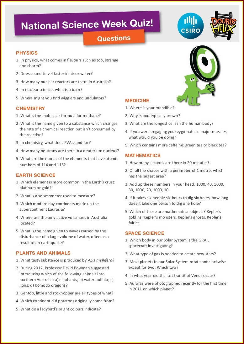 5th Grade Science Quiz Worksheets