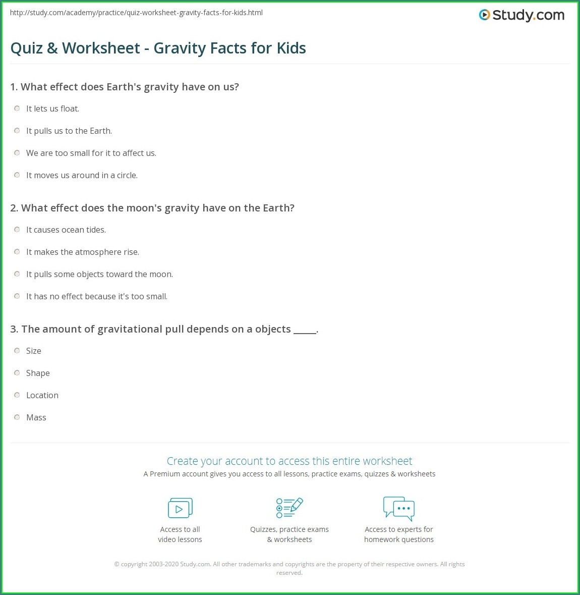 5th Grade Science Worksheets Gravity