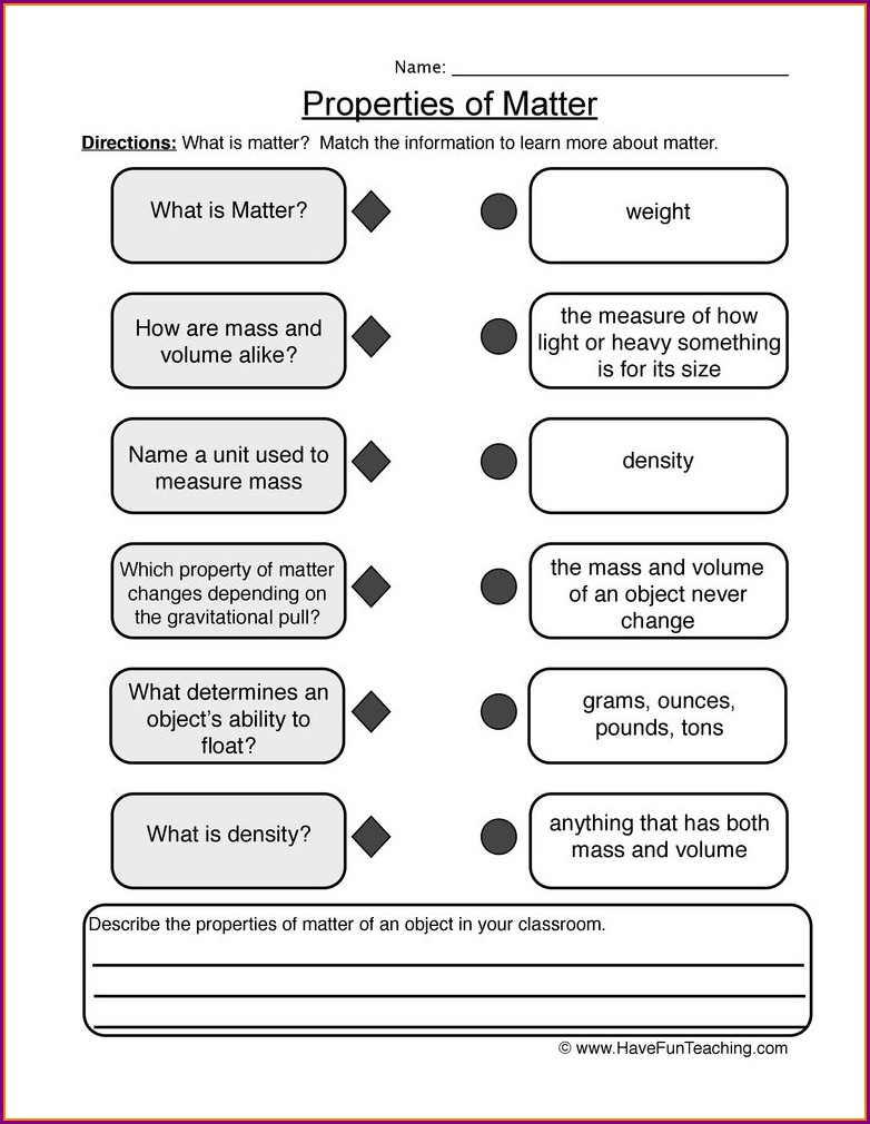 5th Grade Science Worksheets Mass