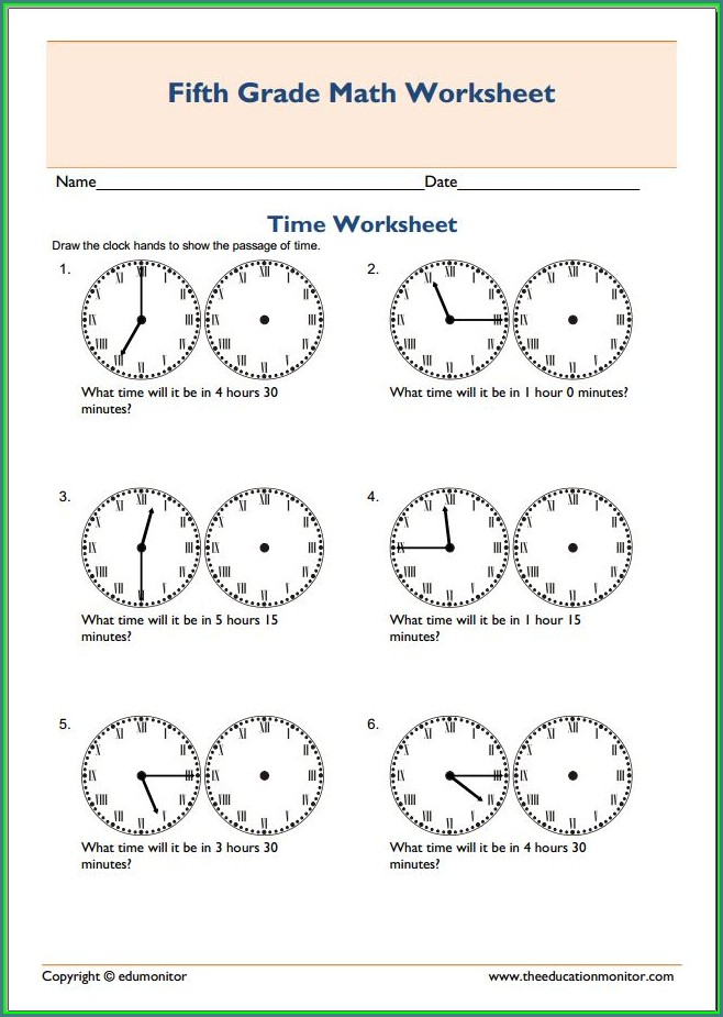 5th Grade Worksheet On Time For Grade 5