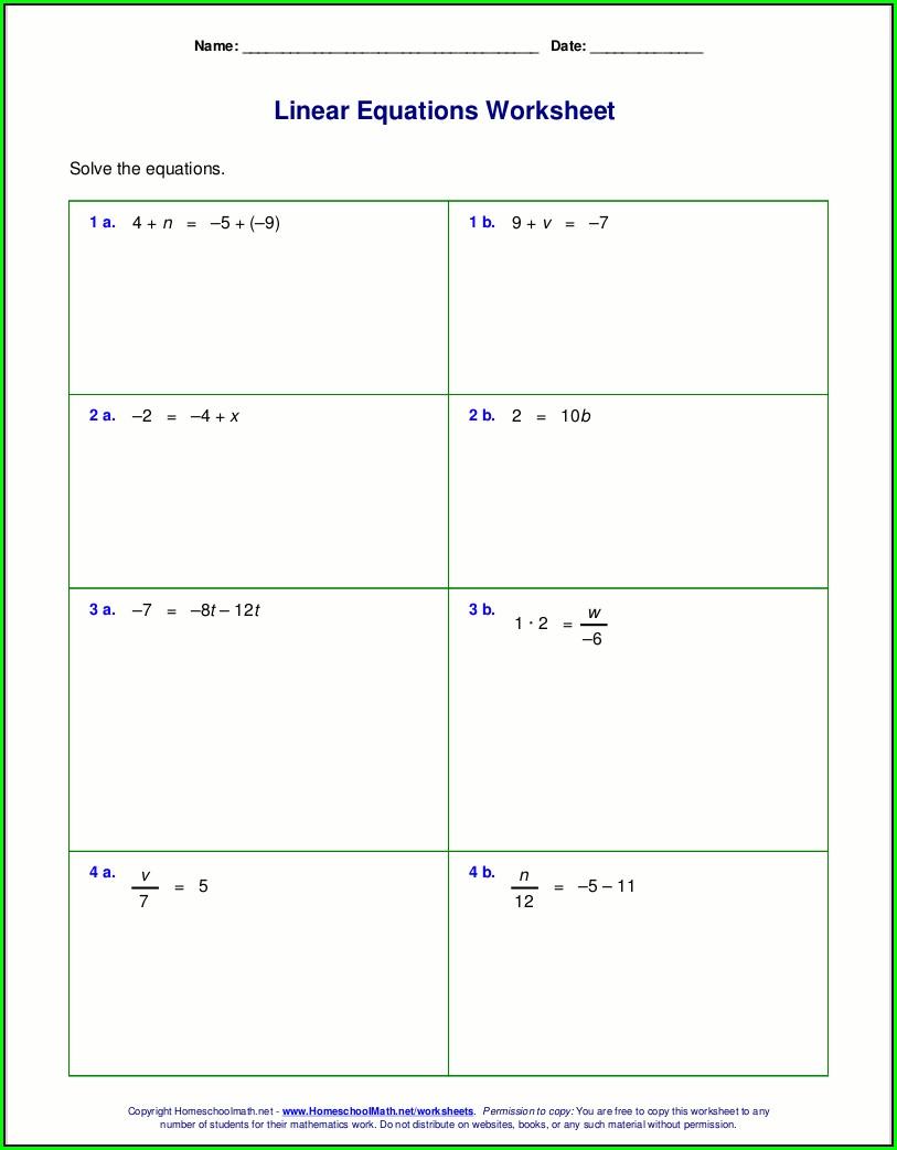 6th Grade Algebra Class 6 Worksheet