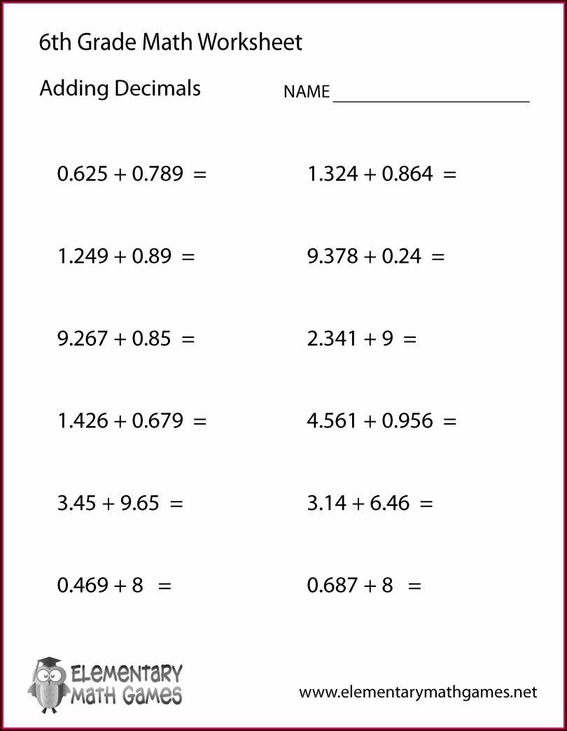 6th Grade Decimal Worksheet For Grade 6