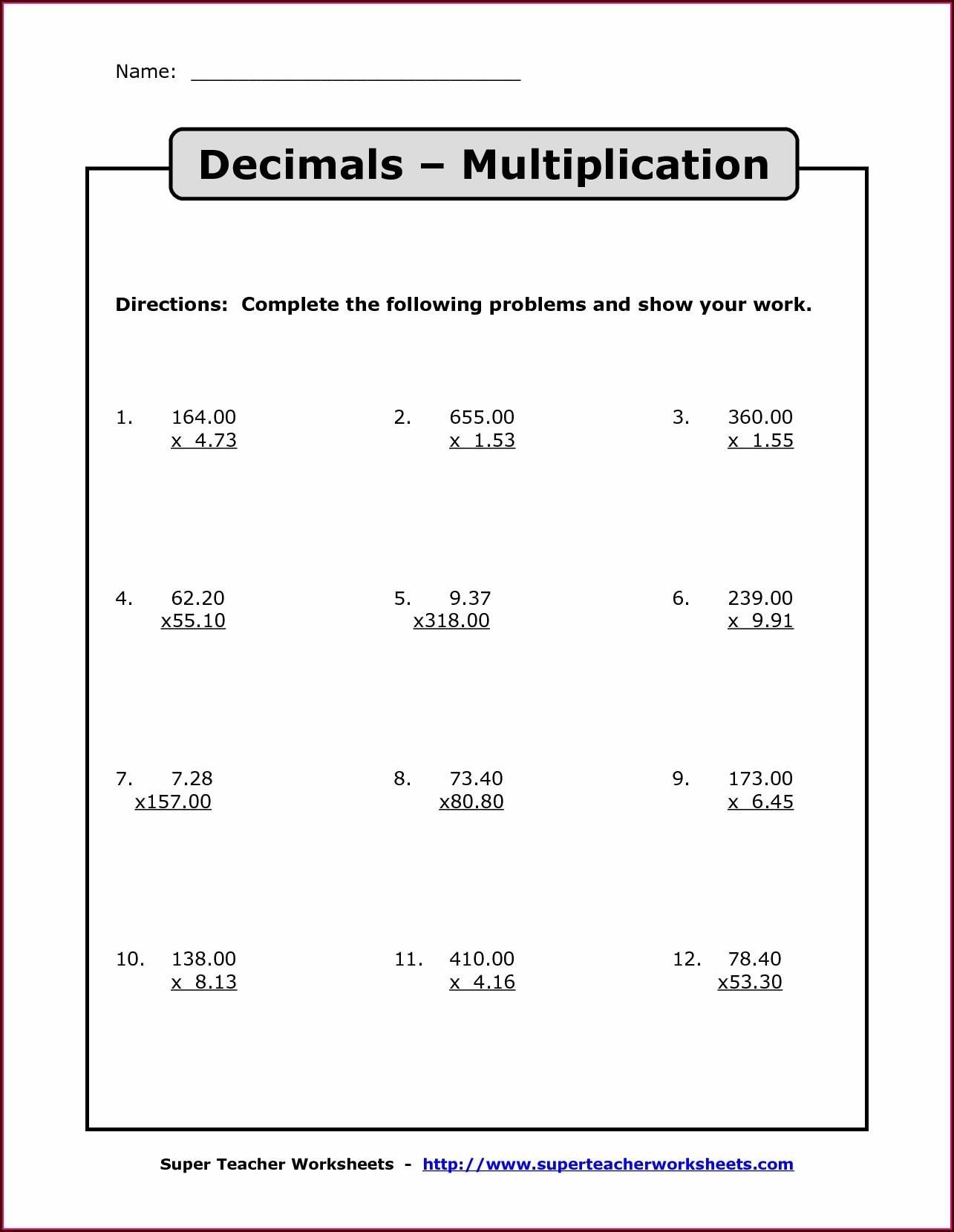 6th Grade Decimal Worksheets