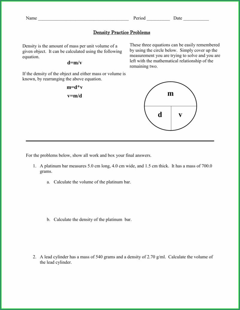 6th Grade Density Problems Worksheet