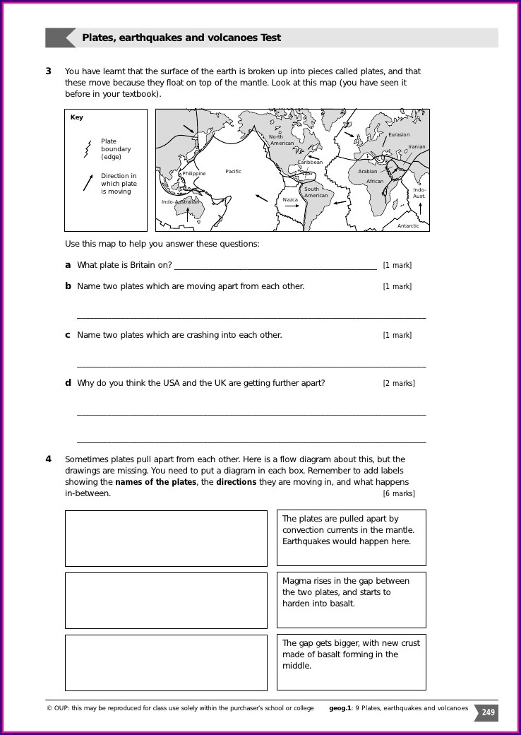 6th Grade Plate Boundaries Worksheet Answers