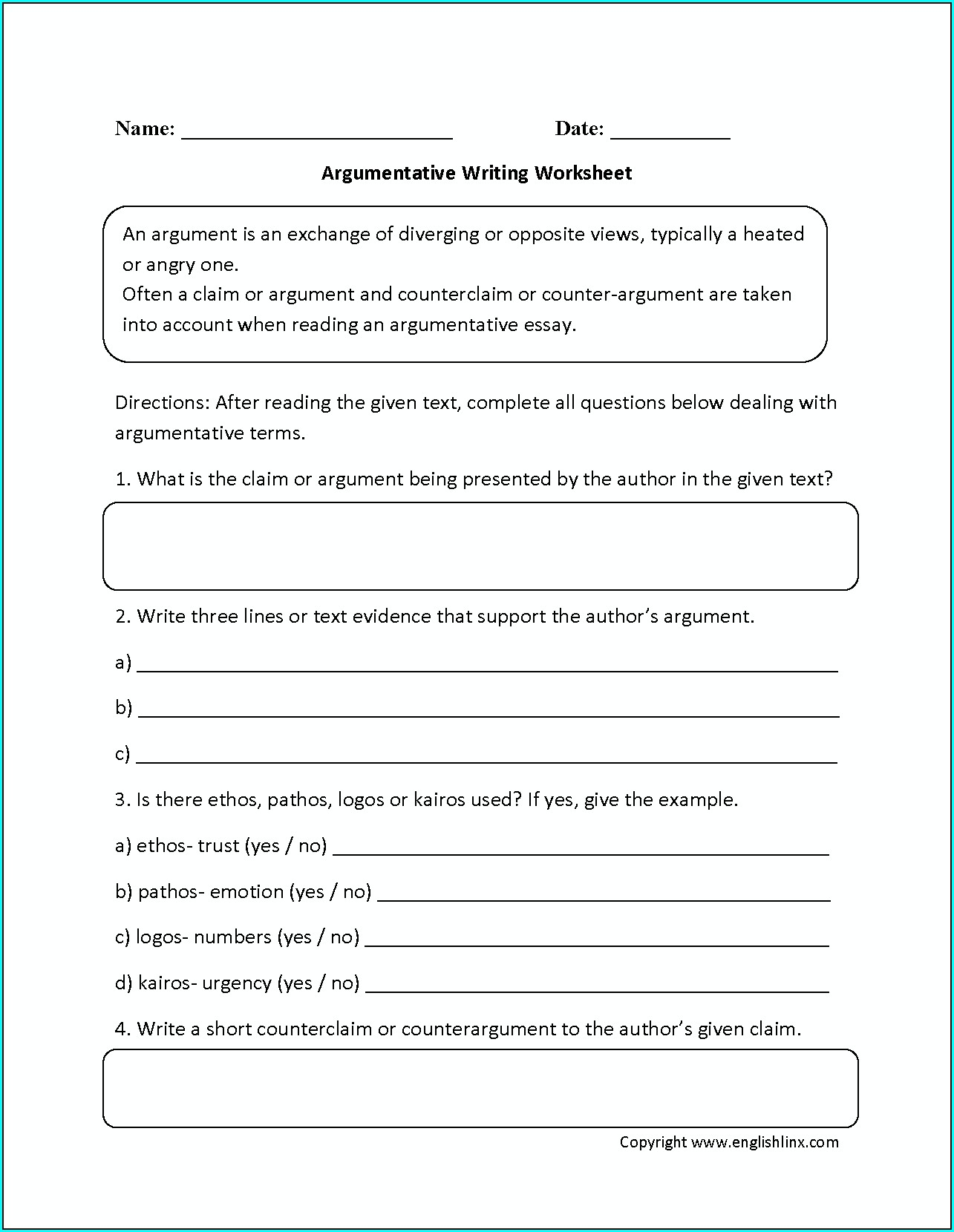 6th Grade Writing Worksheet