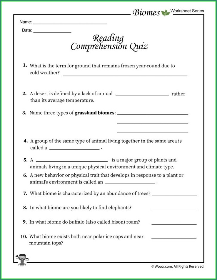 7th Grade Biomes Worksheet