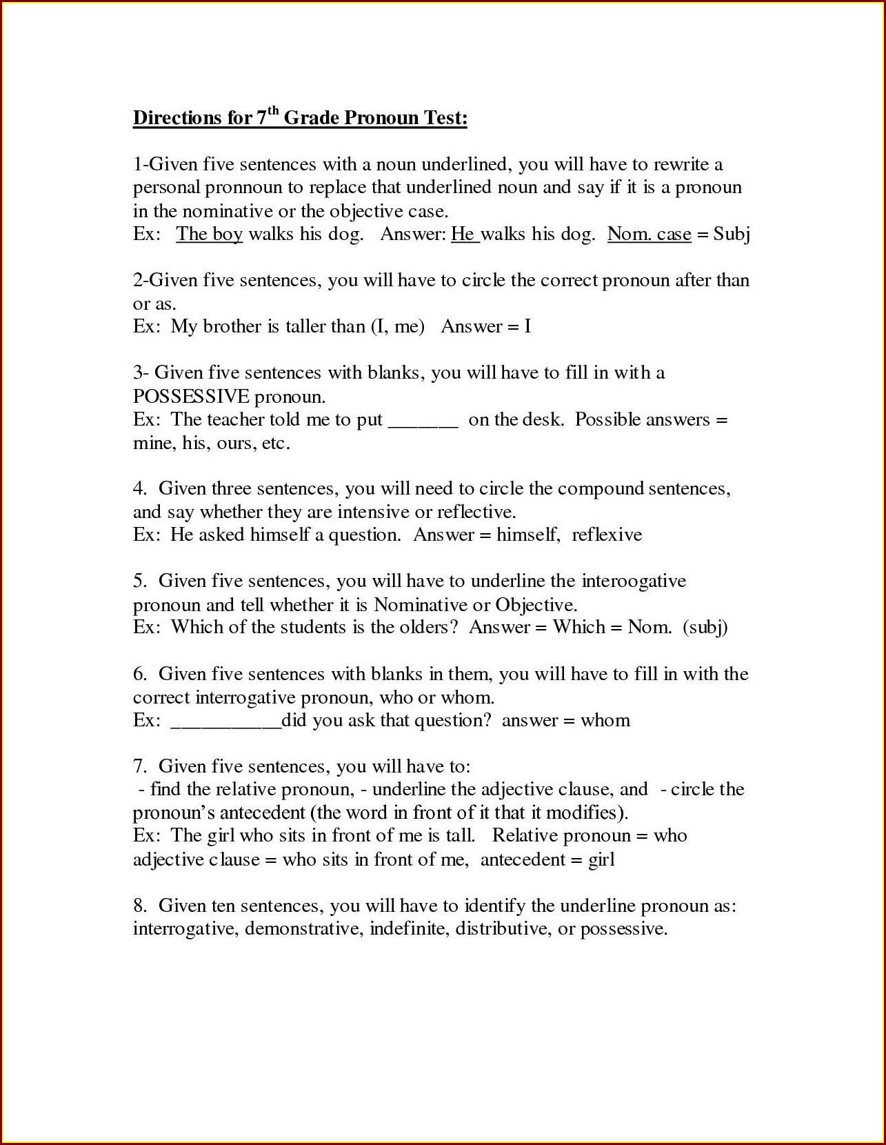 7th Grade English Noun Worksheets