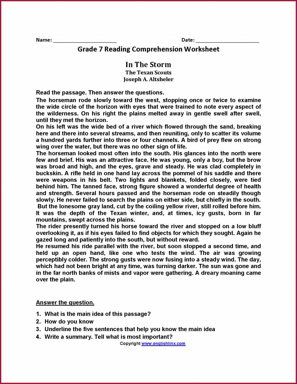 7th Grade English Reading Worksheets