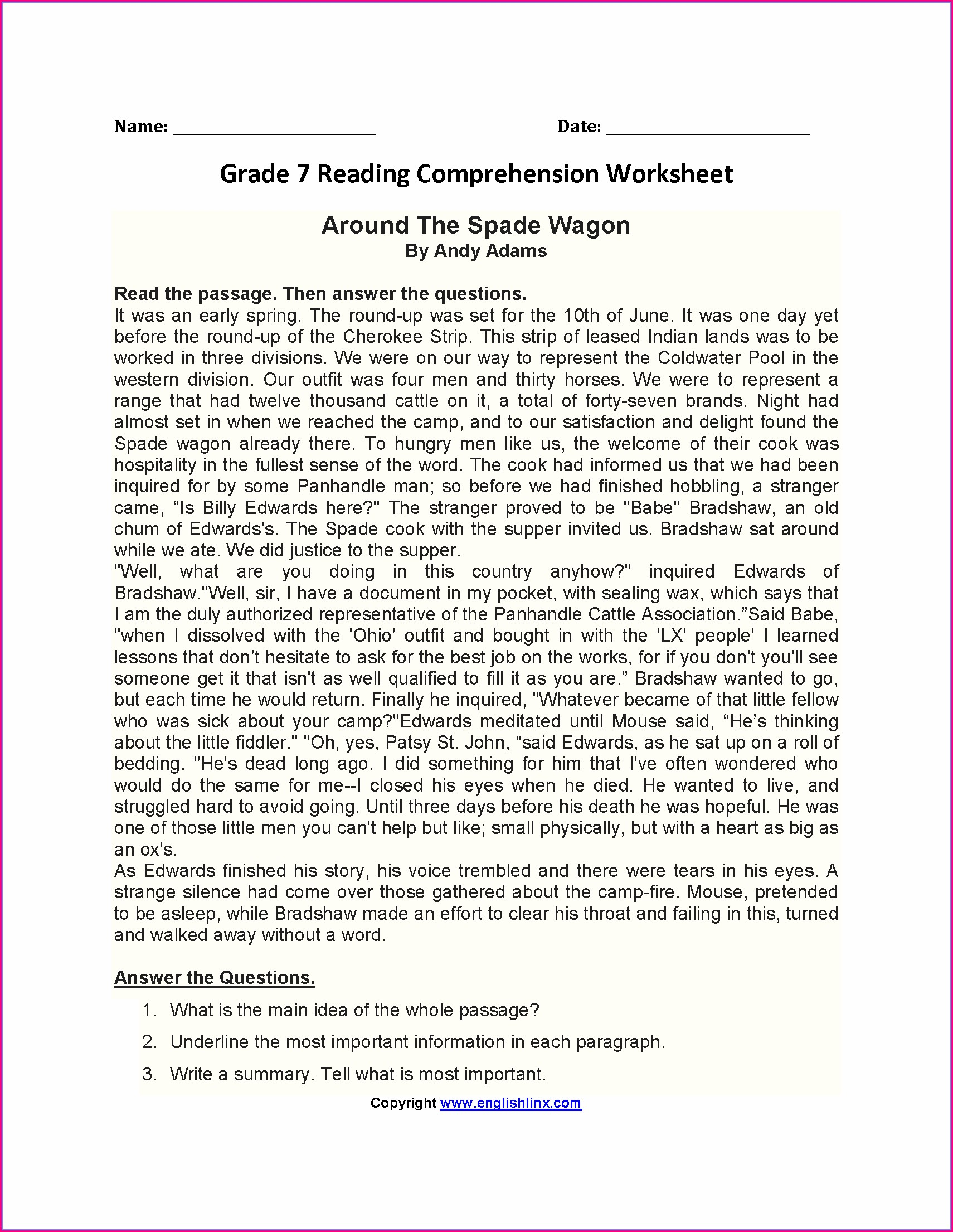 7th Grade English Worksheets For Grade 7 Comprehension