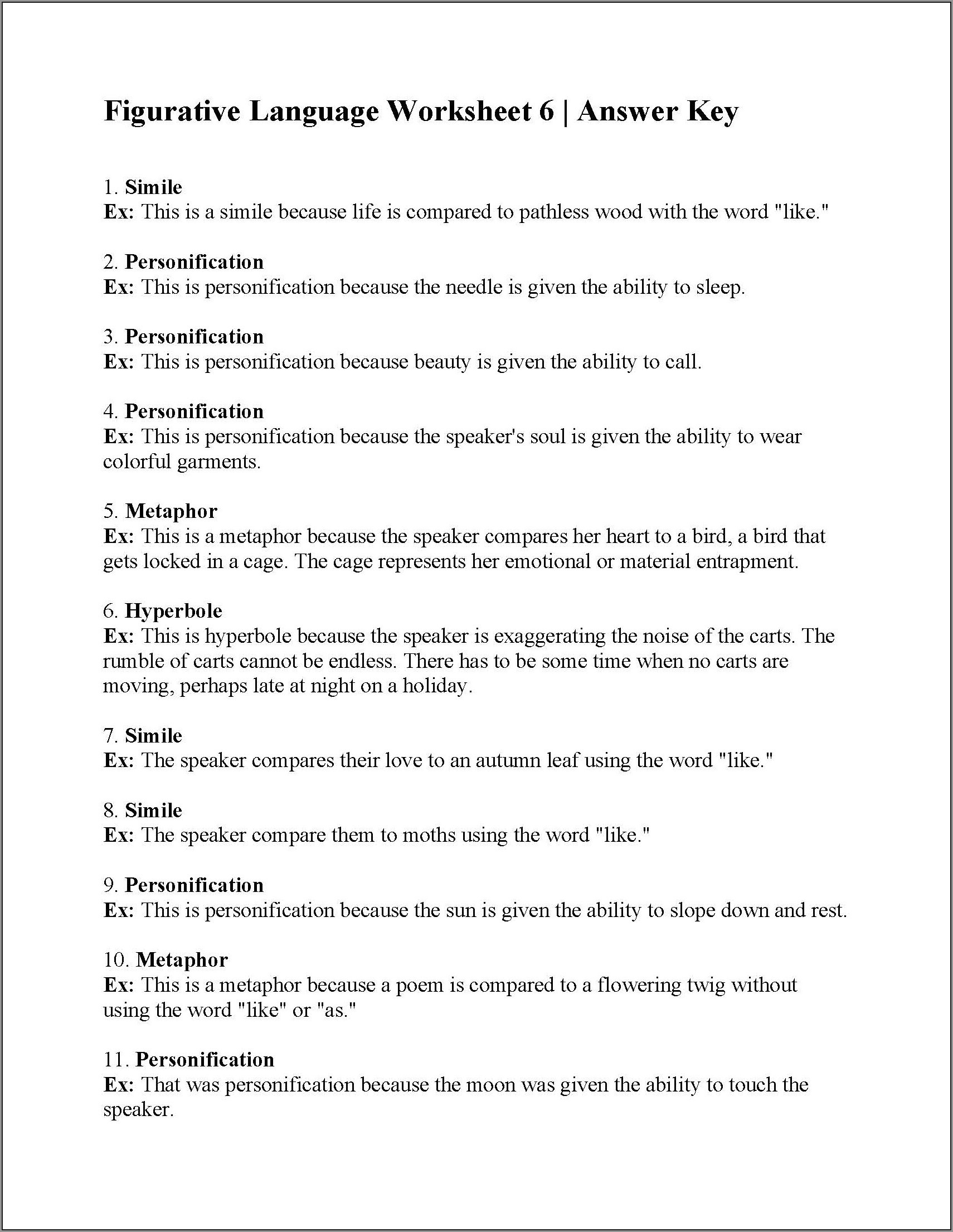 7th Grade Figurative Language Worksheet 2 Answers