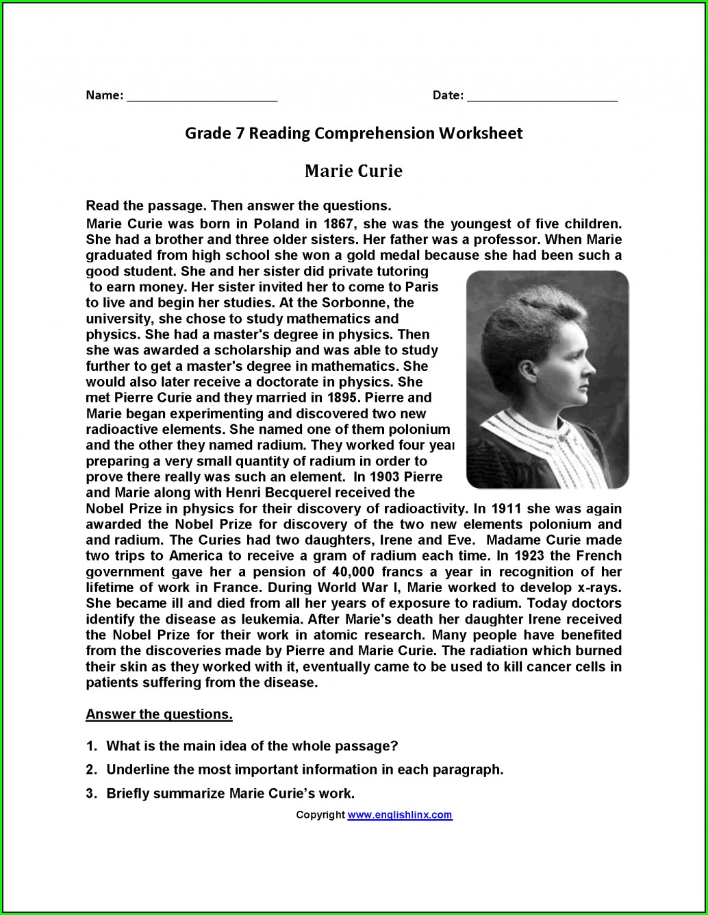 7th Grade Language Arts Worksheets With Answers