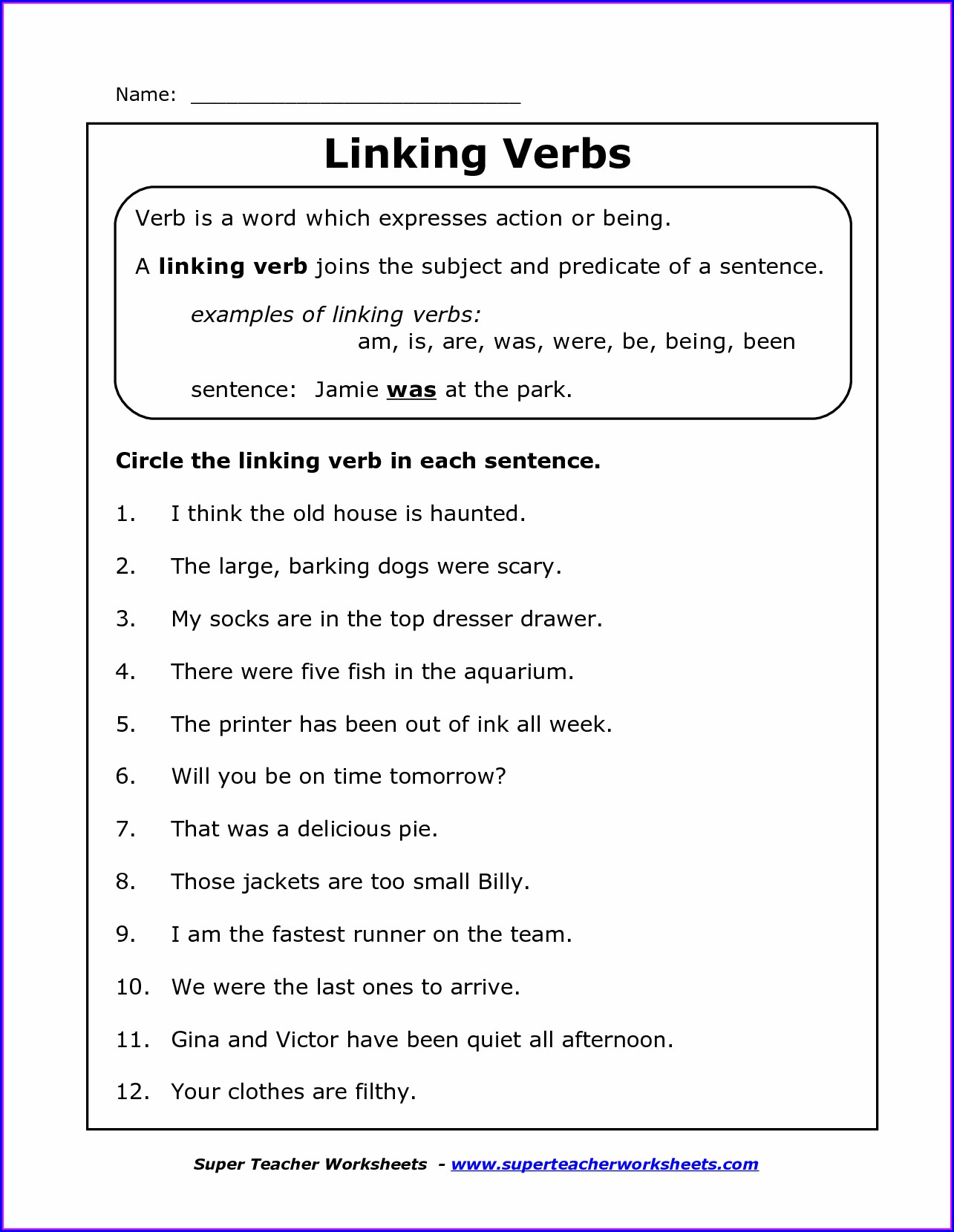 7th Grade Verb Worksheets Middle School