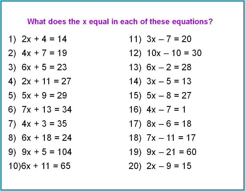 8th Grade 2 Step Equations Worksheet