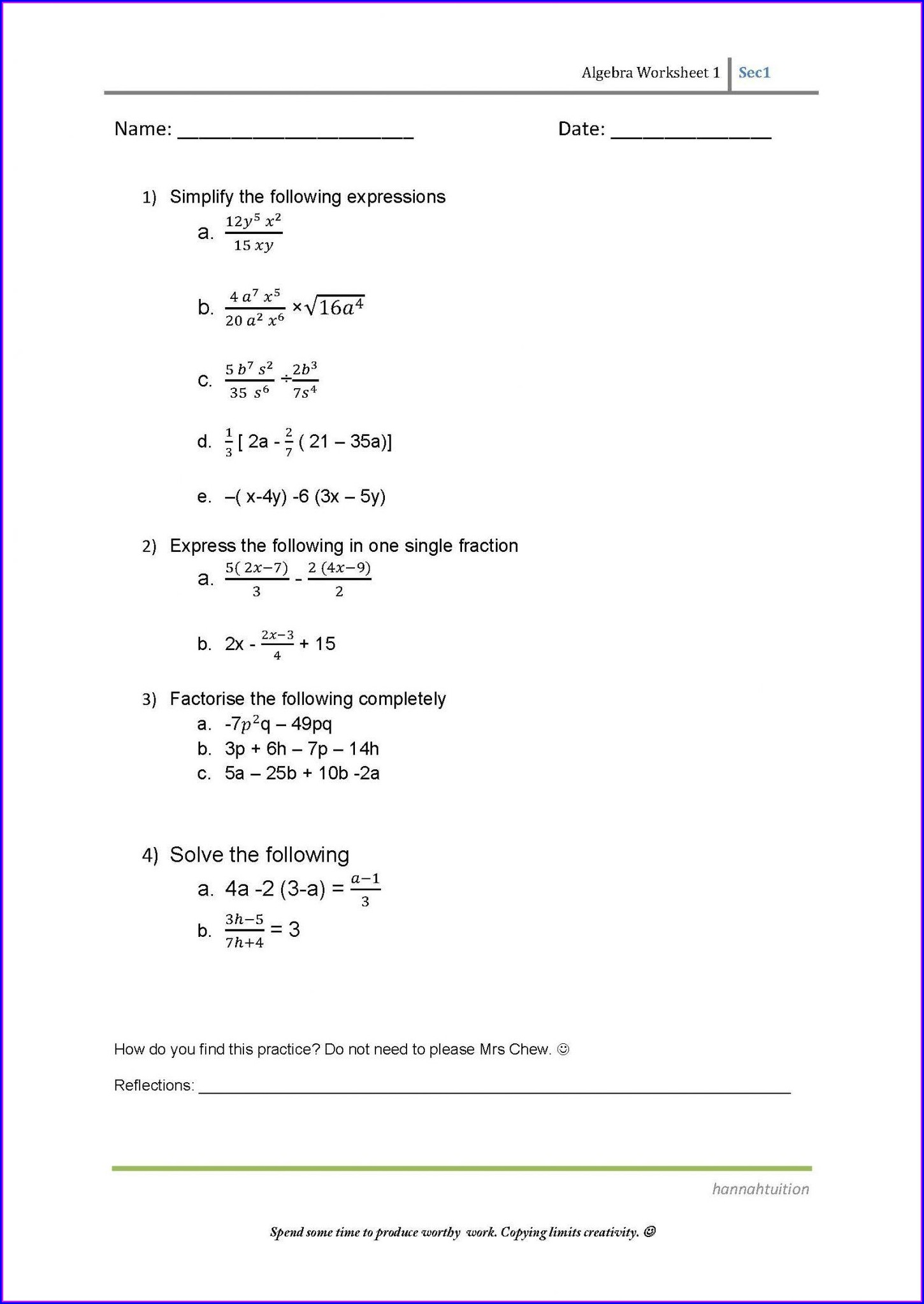 8th Grade Algebra Worksheets