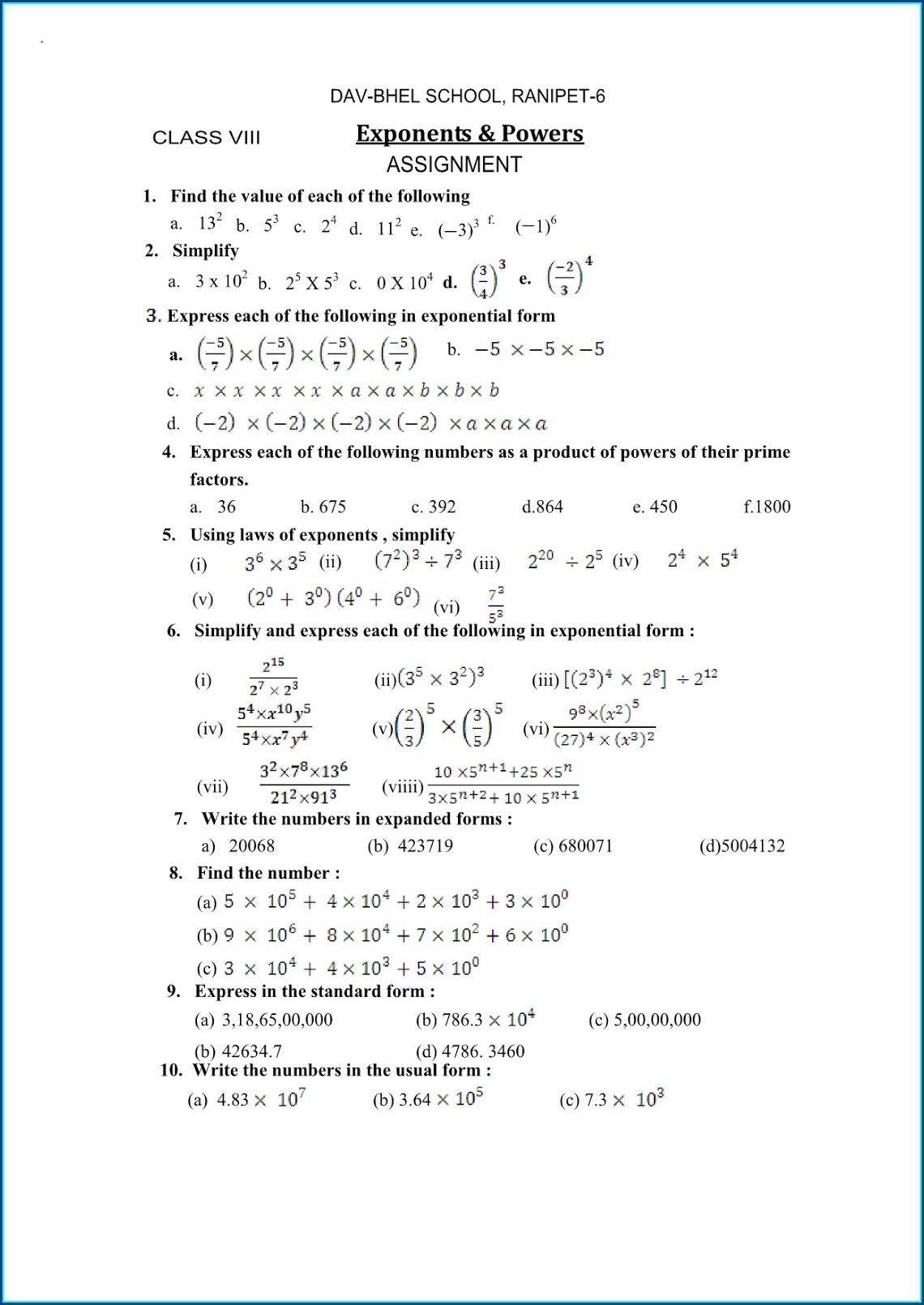 8th Grade Cbse Math Worksheets