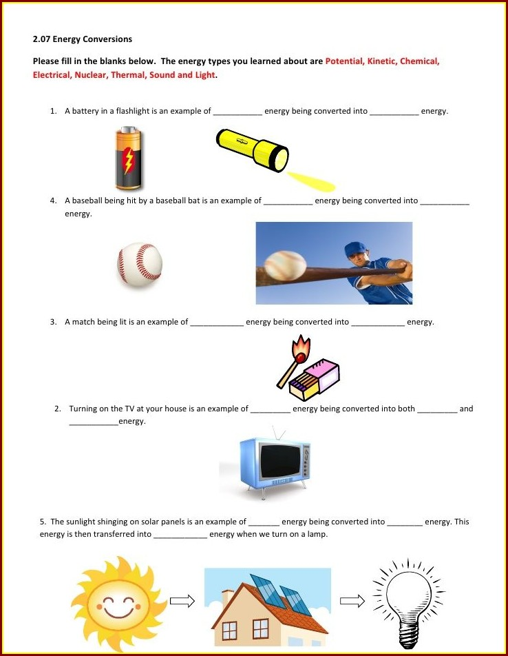 8th Grade Energy Transformations Worksheet
