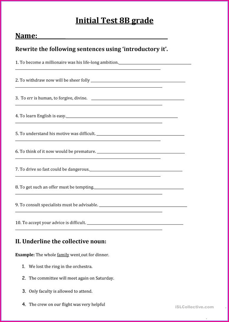 8th Grade English Worksheets With Answer Key Pdf