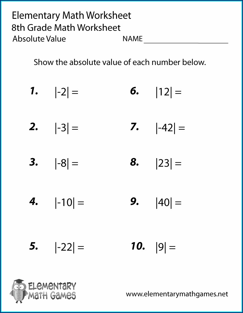 8th Grade Math Absolute Value Worksheets