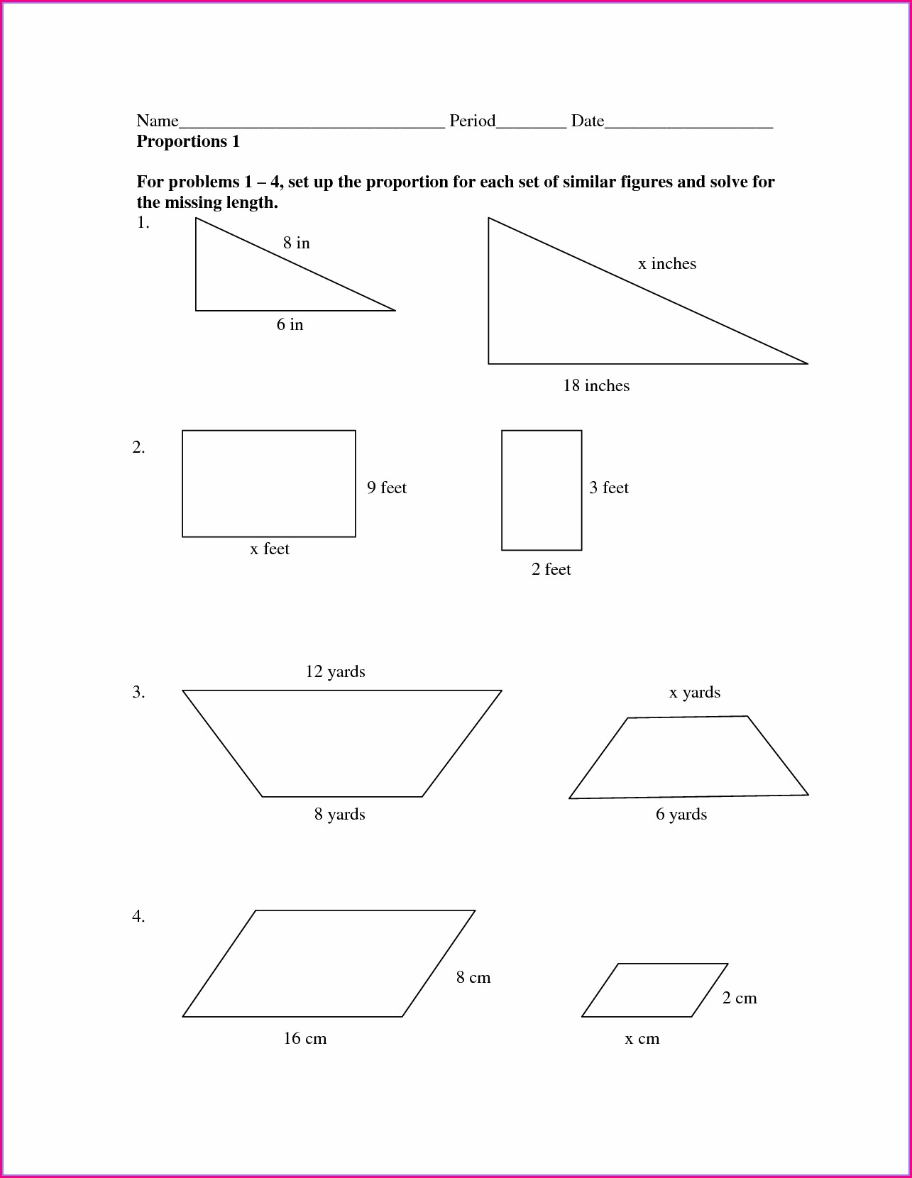 8th Grade Math Scale Factor Worksheets
