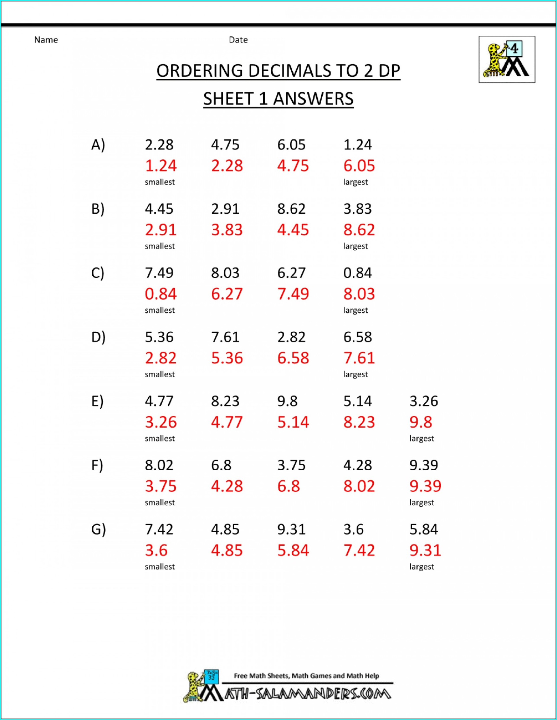 8th Grade Math Worksheets With Answer Key Pdf