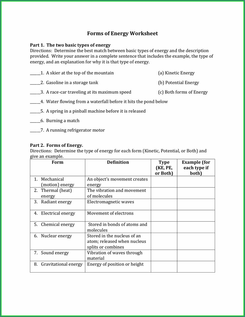 8th Grade Middle School Waves Worksheet