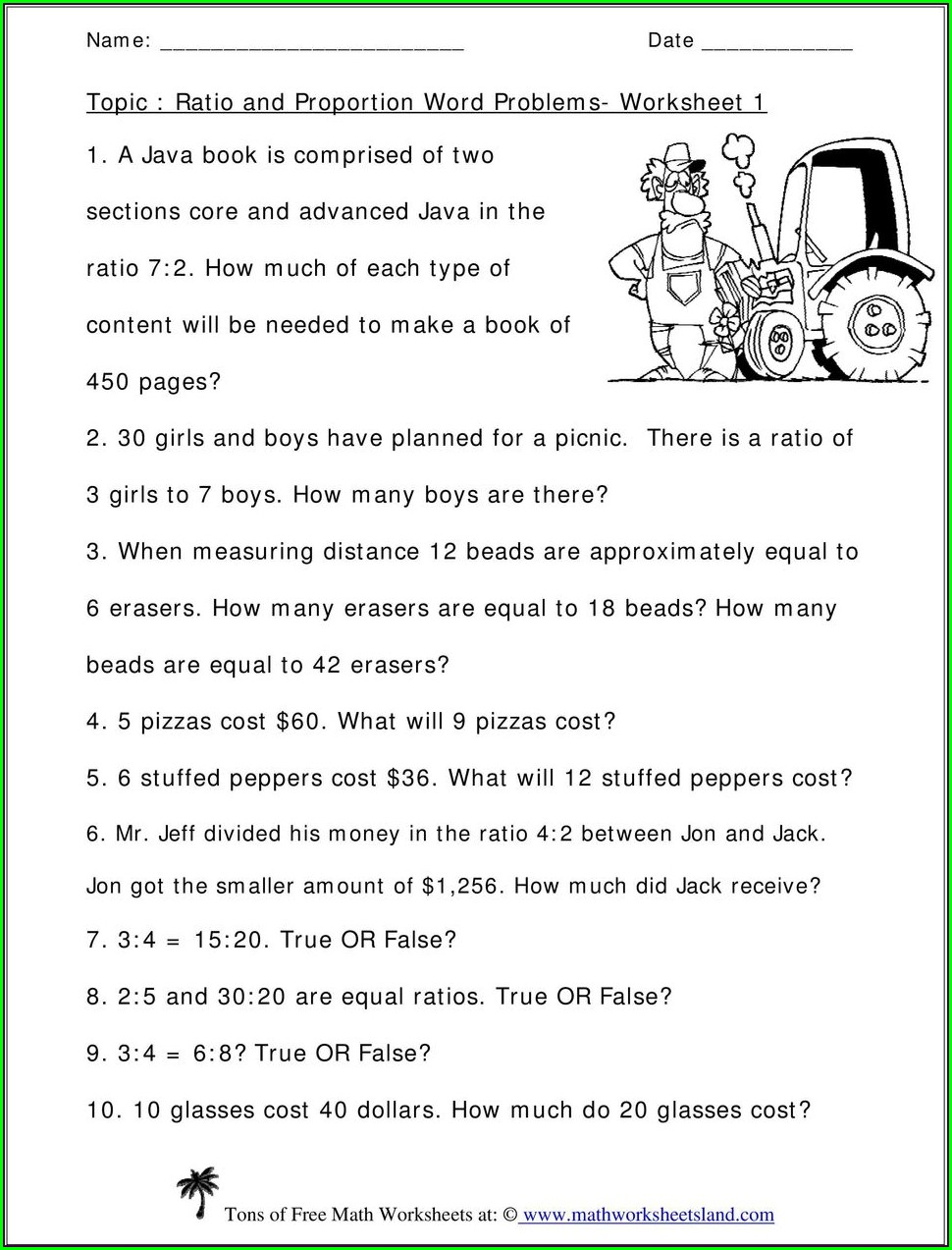 8th Grade Ratio And Proportion Word Problems Worksheet With Answers