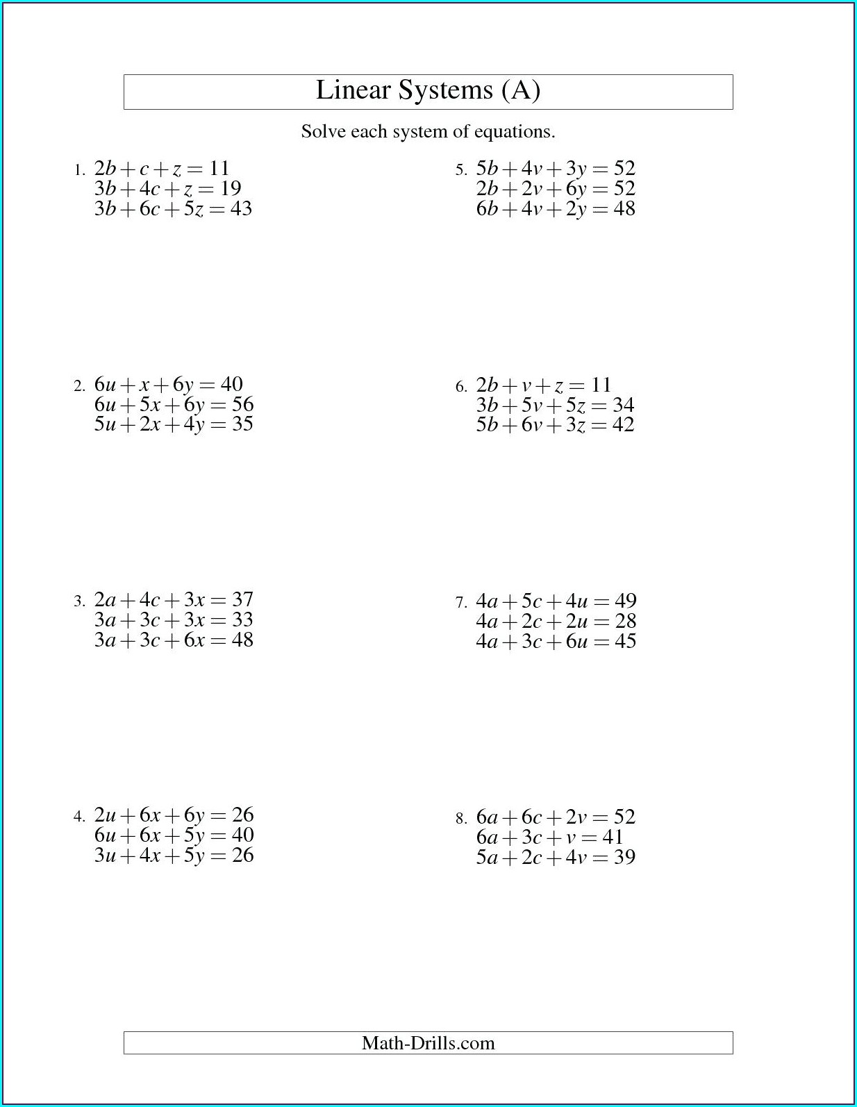 8th Grade Systems Of Equations Worksheet