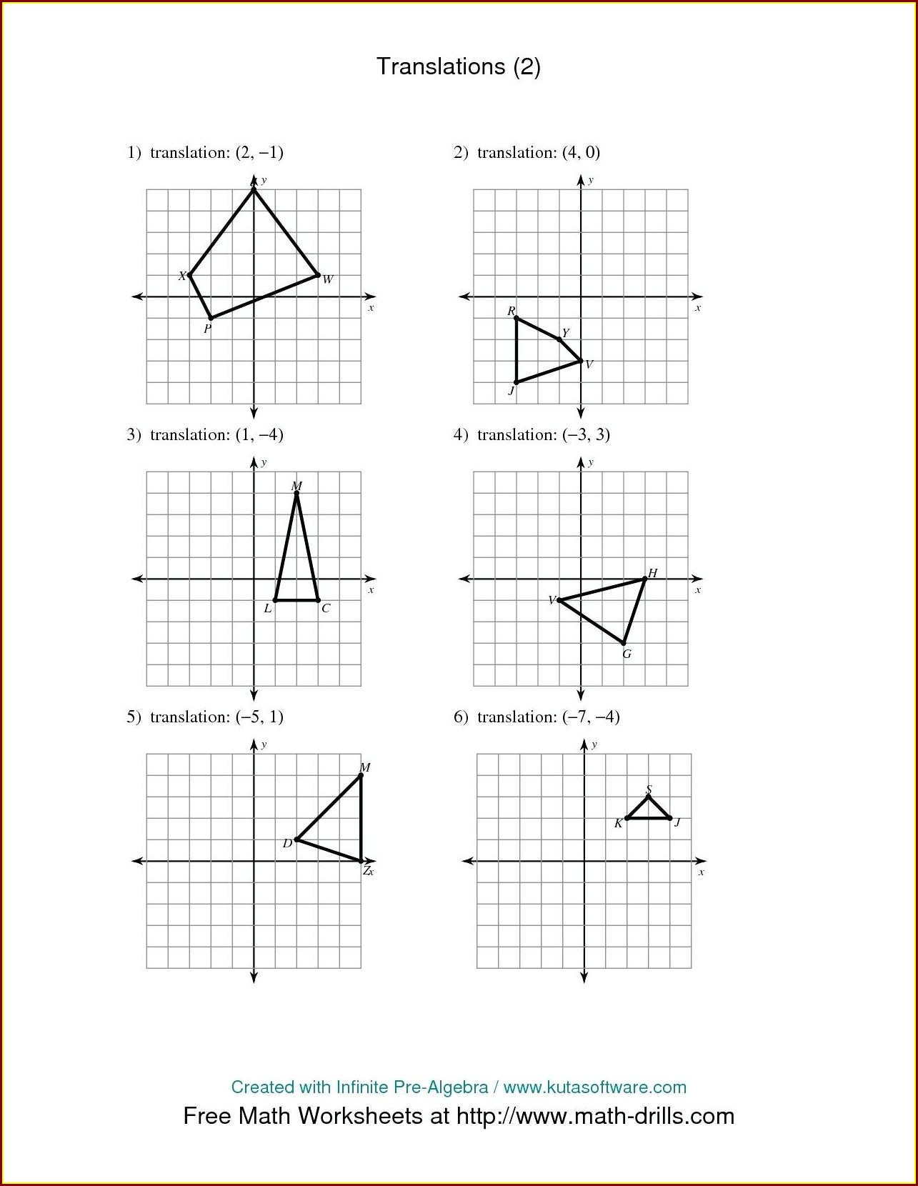 8th Grade Transformations Worksheet