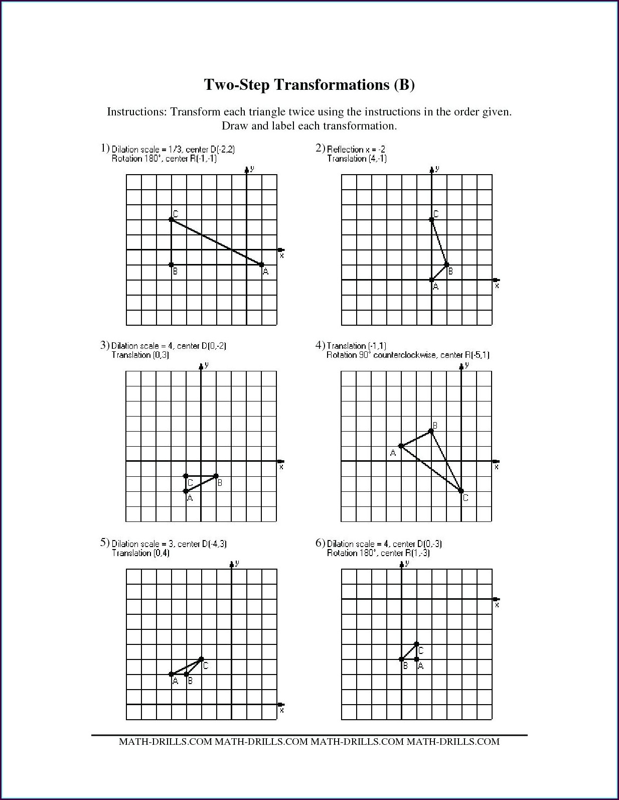 8th Grade Translations Math Worksheets