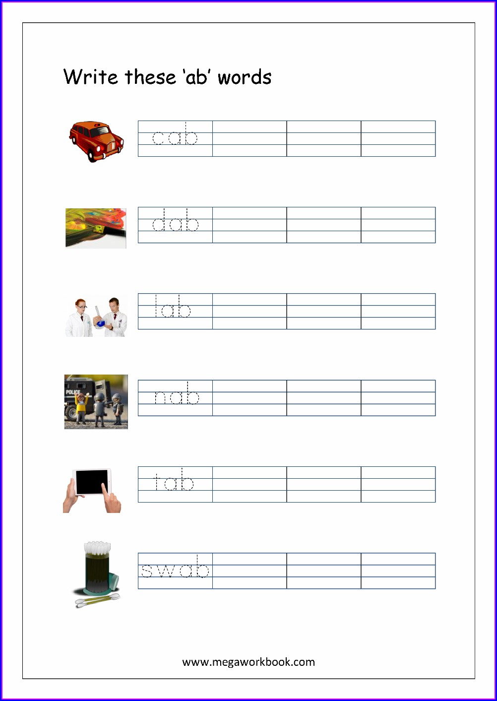 Ab Word Family Worksheets Pdf