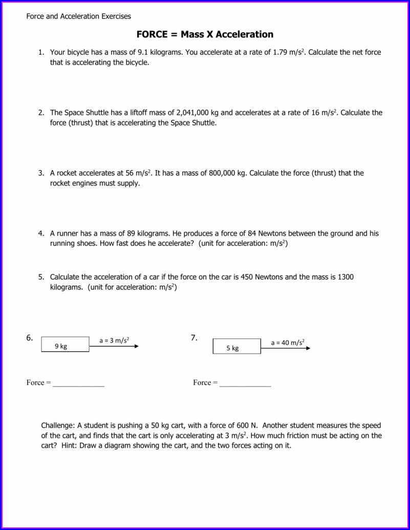 Acceleration Worksheet Answers Physical Science