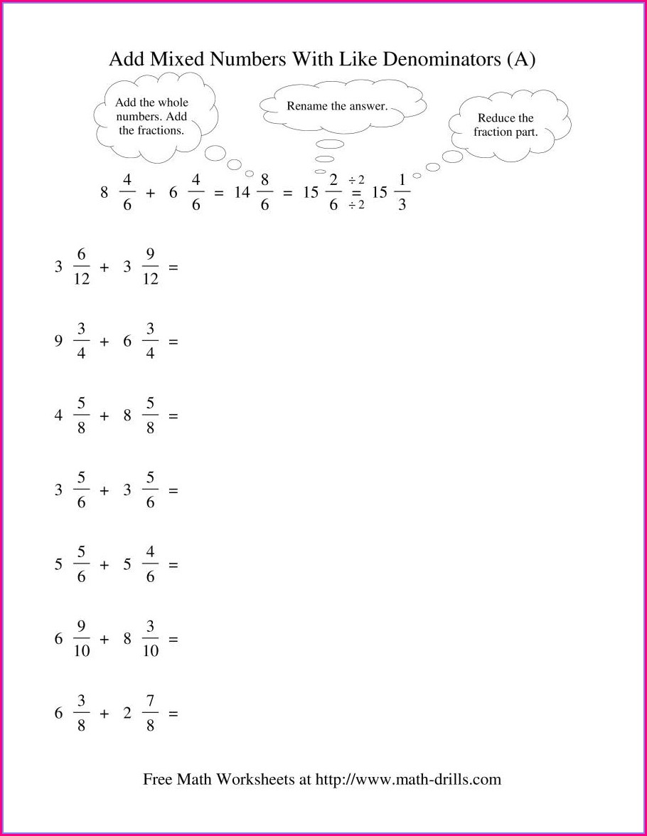 Add Fractions With Unlike Denominators Worksheet