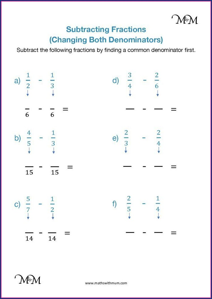 Adding And Subtracting Fractions With Like Denominators Worksheet Pdf