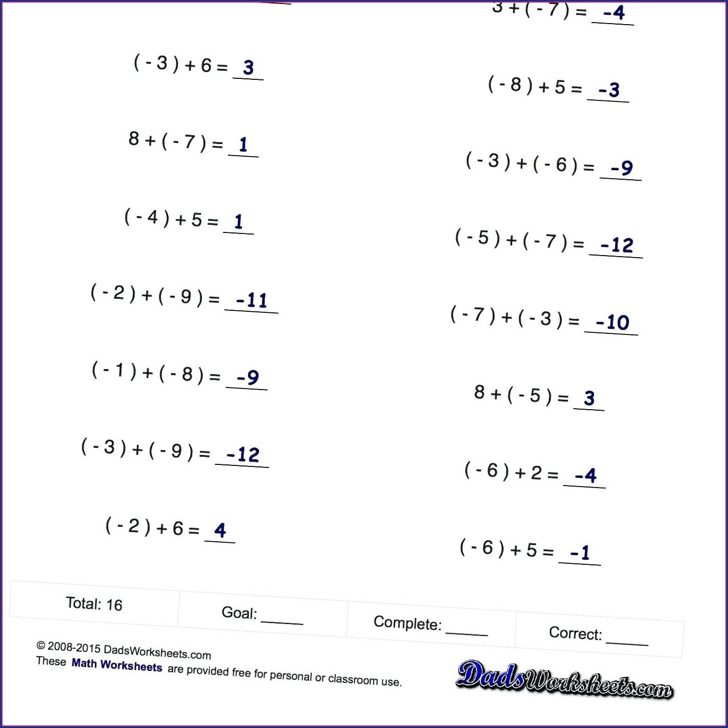 Adding And Subtracting Negative Fractions Worksheet