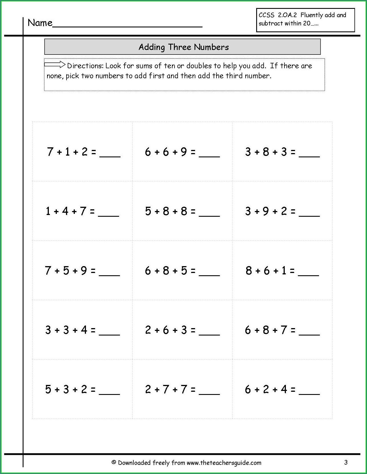 Adding And Subtracting Whole Numbers Worksheets Grade 3