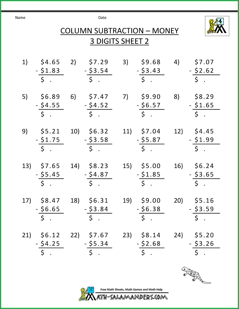 Adding And Subtracting Whole Numbers Worksheets Grade 4