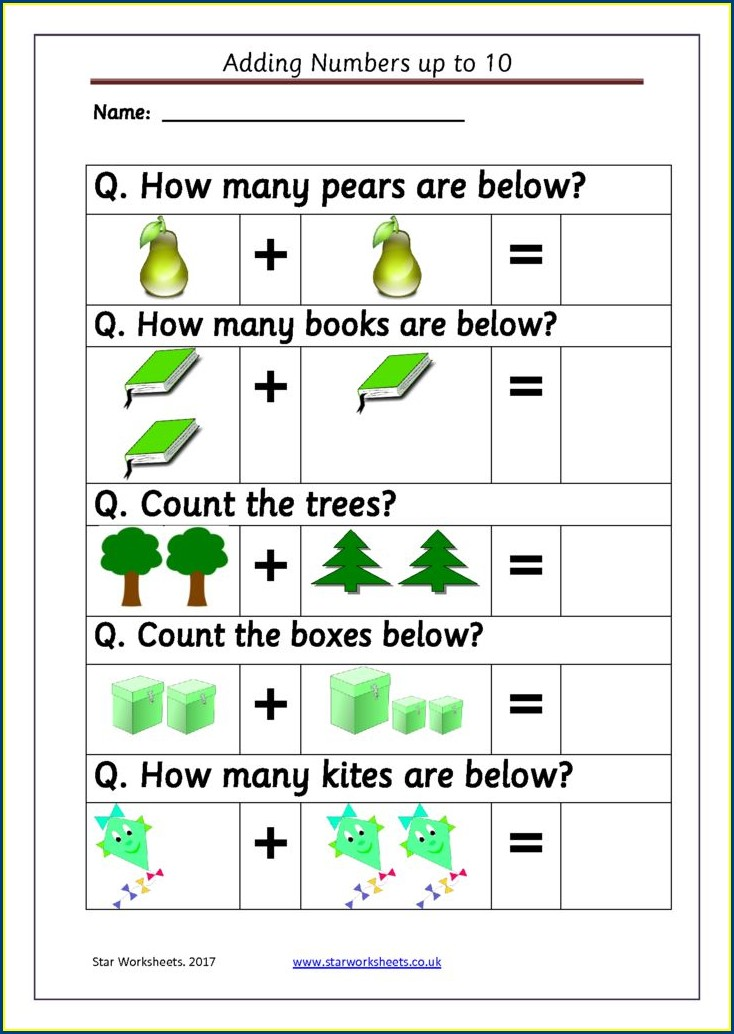 Adding Numbers To 10 Worksheets